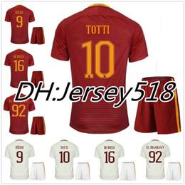 Wholesale Italy Blue Soccer Jerseys - best quality 16 17 SERGIO ROMAS Home red soccer Jersey Kits 2016 2017 TOTTI NAINGGOLAN DZEKO DE ROSSI El Shaarawy Italy away Football Shirts