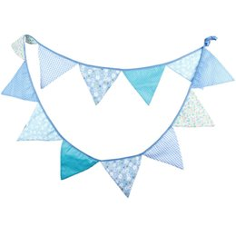Wholesale Bunting String Flags - Wholesale- 12 Flags 3.2m Colorful Cotton Fabric Wedding Party Bunting Flag Christmas Festival Supplies Married String Flags Decoration Q004