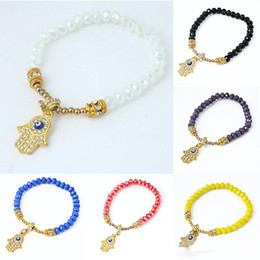 Wholesale Crystal White Glass 6mm - New Fashion 6MM glass bead Chain Bracelets female crystal Hand of Fatima Charm Bracelets For women Buddha's-hand bangle DIY Jewelry
