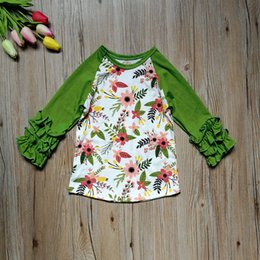 Wholesale Girls Long Sleeve Ruffle Tee - Floral Girls T-shirt 2018 New Flower Printed Ruffle Long Sleeve Children Tee Shirt Autumn Kids Pricness Tops INS Baby Clothes C2631