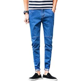 Wholesale Wholesale Mens Skinny Jeans - Wholesale- 2017 Spring new men's black skinny jeans Fashion slim fit cowboy feet pants mens pencil pants N-ZK012