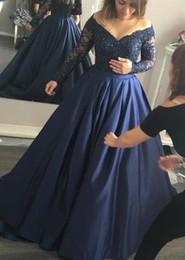 Wholesale Beaded Off White Elegant Shirts - Elegant Navy Blue Formal Evening Wear Dress 2018 Off Shoulder Long Sleeve Plus Size Prom Party Dresses
