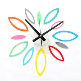 Wholesale 3d Leaves - Bright wall clock color leaf Unique shape diy creative wall sticker Rhombus Leaves home design Decoration Self-Adhesive 3D Sticker DIY clock