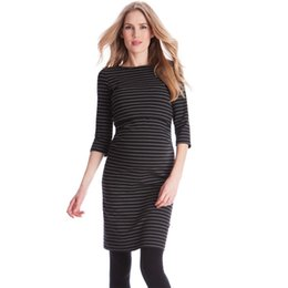 Canada Mode Printemps Automne Allaitement Robes Rayées pour la Grossesse Infirmière Robe De Maternité Vêtements De Grossesse Bureau Élégant Vestidos Offre