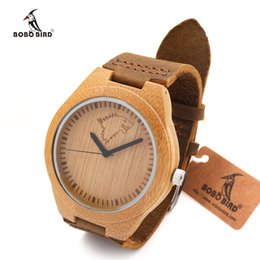Wholesale Bamboo Stainless Japan - Wholesale- BOBO BIRD Brand Wolf-Design Men Watches with Genuine Leader Strap Best Bamboo Watch Wood Wristwatch Japan Quartz-watch as Gifts