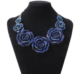 Wholesale Big Chunky Fashion Jewelry - New Fashion Jewelry Big Resin Crystal Blue Flower Necklaces & Pendants Statement Bib Chunky Choker Necklaces Free ship