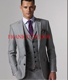 Wholesale Dark Red Vest Wedding Suit - Wholesale- Custom made Mens Light Grey Suits Jacket Pants Formal Dress Men Suit Set men wedding suits groom tuxedos(Jacket+Pants+vest+Tie)