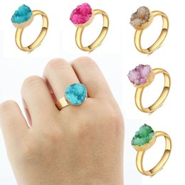 Wholesale Red Amethyst White Gold Rings - Gold-Tone Imitation Natural Stone Druzy Finger Ring 12mm Open Quartz Geode Drusy Ring Women'S Ring For Party Jewelry