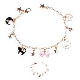 Wholesale Magical Flower - Magical Girlish Style Sakura Star Moon Black Cat Flower Charm Bracelet For Christmas Gift