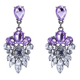 Wholesale Vintage Style Chandelier Earrings - Vintage Bohemian Style Fine Earrings Amethyst Crystal Amazing Women Ladies Earrings Dangle Party Jewelry Alloy Earrings