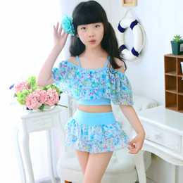 Wholesale Girls Swimwear Year - Girl Swimwear Kids Floral Bikini 2pcs for 3~12 Year Top+Short Swimsuit Bikini swimsuit 5 p l
