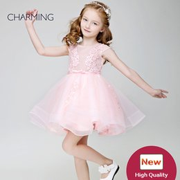 Wholesale Best Wedding Gown Designers - Little girl flower girl dresses Pink high quality Designer formal dresses Prom dresses for little girls tutu dress Best chinese wholesalers