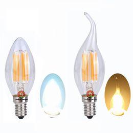 Wholesale E12 Led Bulb 6w Dimmable - Filament LED candle light Bulbs 2W 4W 6W Dimmable E27 E14 E12 LED Filament candle Bulb Warm Cool White 110V 220V