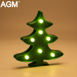 Wholesale Led Lights For Table Decorations - Wholesale- AGM Christmas Tree LED Night Light 3D Standing Lamp Marquee Battery Operated Desk Table For Kids Gifts Home Party Decoration