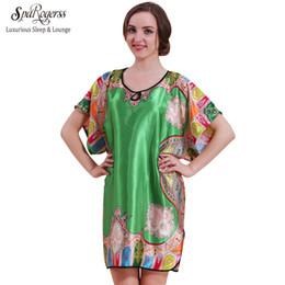 Wholesale Big Top Promotions - Wholesale- SpaRogerss Big Size Women Nightgown 2017 Top Promotion Summer Faux Silk Robe Sleep Lounge Satin Bathrobe Ladies Sleepshirt 58060