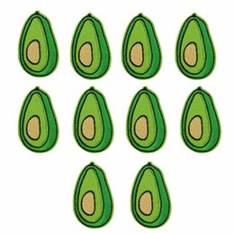 Wholesale Sew Badges Wholesale - Brand New 10pcs Green Avocado Patches Badge for Clothing Iron Embroidered Patch Applique Sew On Patches Sewing Accessories For DIY Clothes