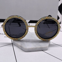 Wholesale Elegant Polarized Sunglasses - New Elegant Round Sunglasses Women Brand Designer Fashion retro Sunglasses Female Metal colorful Crystal Sun Glasses For Women