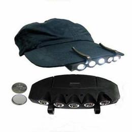 Wholesale led black light headlamp - New Black Camping Fishing Clip Hat Cap Light Lamp Headlamp 5 LEDS hot sale