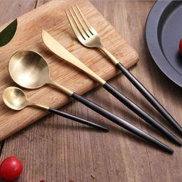 Wholesale Stainless Steel Kitchen Cutlery - 304 Stainless Steel Cutlery Silver Gold Flatware Set Black Tableware Dinnerware 4PCS a Lot Kitchen Flatware