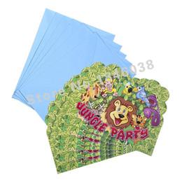 2019 tarjetas de cumpleaños para niños Al por mayor-6pcs Envelop Shape Fiesta de la selva fiesta temática invitación tarjeta niños bebé cumpleaños / Festival fiesta tarjeta decoración suministros rebajas tarjetas de cumpleaños para niños