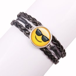 Wholesale Gold Cord Clasp - Wholesale- Emoji New fashion jewelry Multilayer multicolor time gem bracelet children teenager Leather cord bracelet
