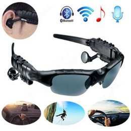 Wholesale Iphone Girl Glasses - Bluetooth Sunglasses Outdoor Glasses Bluetooth Headset Music Stereo Glass Wireless Headphones With Mic for Andorid iPhone CCA7468 60pcs