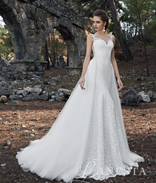 Wholesale Short Skirt Zipper Front - 2017 mermaid lace wedding dresses with tulle detachable chaple train sweetheart beateau neckline zipper back with appliques wedding gowns