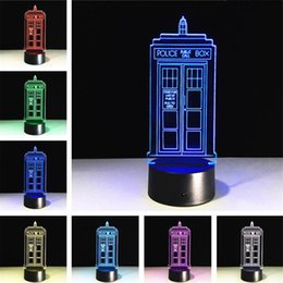 Wholesale Led Home Decor Lighting - Free Shipping 1Piece Police Box 3D Night Light LED Desk Light Multi-colored Police Box Lamp Home Decor