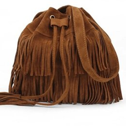 Wholesale Suede Fringe Crossbody Bag - Wholesale-2016 Retro Faux Suede Fringe Women Bag Messenger Bags New Handbag Tassel Shoulder Handbags Crossbody Gift Free Shipping N513