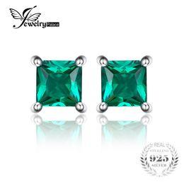 Wholesale Created Emerald Jewelry - Jewelrypalace Square 0.6ct Created Created Russian Nano Emerald 925 Sterling Silver Stud Earrings Fashion Jewelry for Women