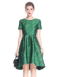 Deutschland Mode Frauen Asymmetrische Jacquard Kleid Kurzarm Kleider 0917183 Versorgung