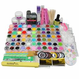 Wholesale Hot Glue Nails - Wholesale- Hot Sale Nail Art Builder Set Acrylic Powder Liquid Glitter False Nails Files Glue Brush Tweezer Primer Tips Manicure Tools Kit