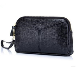 Wholesale Small Leather Pocket Change Holder - 2018 new Genuine Leather Soft Small Coin Purse Small Change Money Coin Wallet Leather Phone Bag
