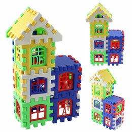 Wholesale Toy Wooden House Block - Baby Kids House Building Blocks Educational Learning Construction Developmental Toy Set Brain Game Toy 24 Pcs