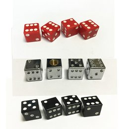 Wholesale Dice Valve - (20pieces lot ) Copper core Dice American Schrader Cycle Valve Air Caps Airtight Cover For Car Bike Car Accessories HT-453