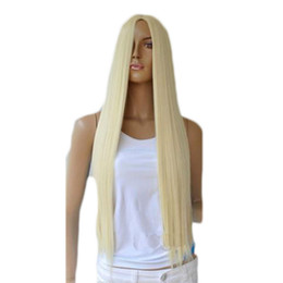 Wholesale Wig Blonde Brown Black - WoodFestival long straight blonde wig women synthetic hair wigs soft fiber hair for white women heat resistant full wig female fashion