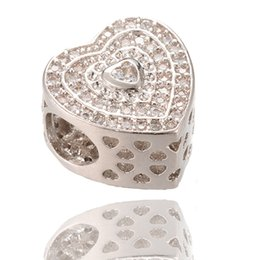 Wholesale Pandora Pave Heart Charms - AAA Cubic Zirconia Charm Heart Silver Beads Zircon Micro Pave Beads Fit Pandora Bracelet ICPD036, 11.4*11.4mm
