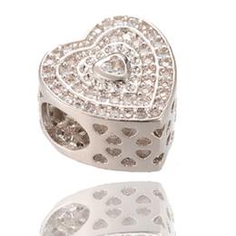 Wholesale Micro Flower - AAA Cubic Zirconia Charm Heart Silver Beads Zircon Micro Pave Beads Fit Pandora Bracelet ICPD036, 11.4*11.4mm