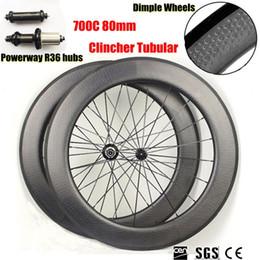 Llantas de ciclismo online-Ruedas huecas de la fibra de carbono y ruedas de la profundidad de 80m m Anillos de carbono de la anchura de 25m m Ruedas de ciclo de la bicicleta ruedas con los cubos Powerway R36