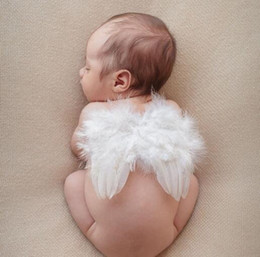 Wholesale Baby Costume Wings - Baby Feather Fairy Angel Wings Photography Props Costume Party Decor 6-18 Months YH647