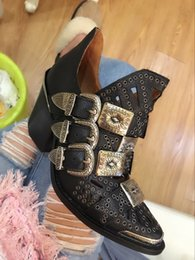 Wholesale Low Heeled Ankle Booties - Jeffrey Campbell The Wycliff Heel Western Booties Studded Multi-strap Western Heeled Booties Buckle Ankle Boots