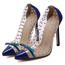 Wholesale Transparent Pointed Heeled Shoes Women - Fashion Women's Shoes Dot Rivets Bow Shoes Sexy Transparent Pointed High-heeled Shoes Large Size