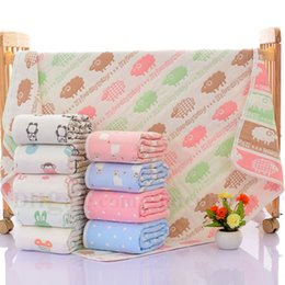 towels shower baby Coupons - Baby Swaddle Blankets INS Soft Bathing Towels Toddler Cartoon Wrap Kids Cotton Swaddling Children Bedding Sheet Shower Towel Six Layers H647