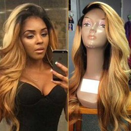 Wholesale Two Parting Wigs - Two Tone Lace Front Wig Peruvian Remy Hair 150 Density Ombre Color Side Part Blonde #1bT27 Human Hair Wig for Black Women