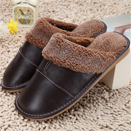 Wholesale Home Lamb - Wholesale- High Quality Winter Warm Home Slippers Couples Genuine Cow Leather Leisure Lamb Wool Cow Muscle Women Men Indoor Floor Slippers