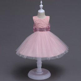 Wholesale Wholesale Quality Wedding Gowns - Kids Clothing Girls Dresses Wedding Dress Lace High Quality Tutu Skirt Big Bow Sleeveless Baby Girls Summer Gown