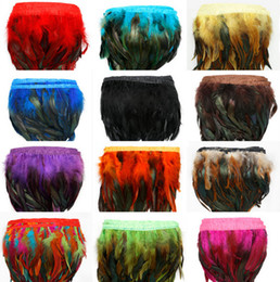 Wholesale Strip Skirt - 1Yard Piece 12 Colors for Selections Rooster Tail Wedding Bride Dresses Decoration Skirt Feathers Party Decorative Boas Strip