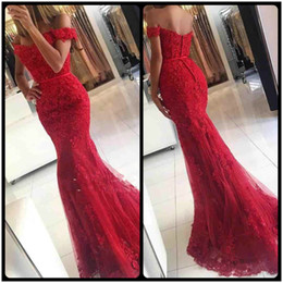 Wholesale Girls Robe 12 - Charming Robe De Soiree Red Lace Applique Mermaid Evening Dresses Longue Black Girl Dresses Formal Prom Dress With Beaded