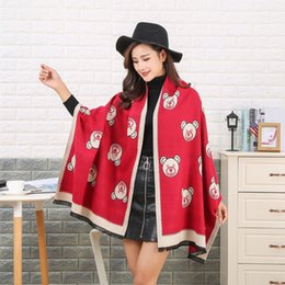 Wholesale Dual Scarf - Factory wholesale New Winter Scarf Shawl scarves warm dual-purpose bear pattern all-match lady amazing scarf