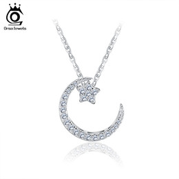 Wholesale Moon Star Pendant Necklace - ORSA JEWELS 925 Sterling Silver Moon Star Pendant Necklaces with Austrian Crystal for Women Genuine Silver Jewelry Gift SN06